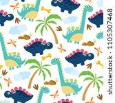 cute dino seamless pattern. | Shutterstock .eps vector #1105307468