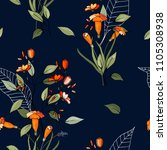 blossom floral seamless pattern.... | Shutterstock .eps vector #1105308938