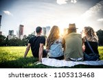 multi ethnic group of friends... | Shutterstock . vector #1105313468