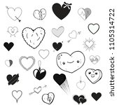 set of different hearts. hearts ... | Shutterstock .eps vector #1105314722