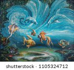 an oil painting on canvas. the... | Shutterstock . vector #1105324712