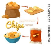 info poster about potato chips. ... | Shutterstock .eps vector #1105329788