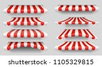 red and white sunshade. outdoor ... | Shutterstock .eps vector #1105329815