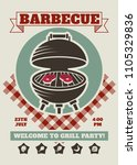 Retro barbecue party restaurant invitation template. BBQ cookout vector poster with classic charcoal grill. Cooking summer outdoor banner, cook weekend flyer cookout illustration | Shutterstock vector #1105329836