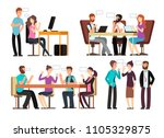 businessman and woman have... | Shutterstock .eps vector #1105329875