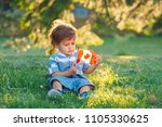 portrait of little white... | Shutterstock . vector #1105330625