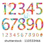 font   colorful numbers with...   Shutterstock .eps vector #110533466