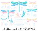 dragonfly spring set sketch... | Shutterstock .eps vector #1105341296