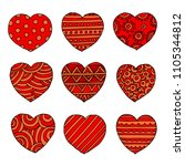 hearts set for wedding and... | Shutterstock . vector #1105344812