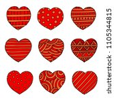 hearts set for wedding and... | Shutterstock . vector #1105344815