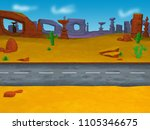 cartoon desert rock monument...   Shutterstock . vector #1105346675