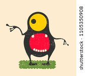 happy monster with yellow eyes... | Shutterstock .eps vector #1105350908