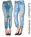 fashion illustration of femail...   Shutterstock .eps vector #1105361972