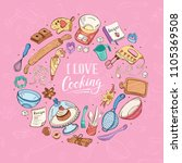 i love cooking poster.  baking... | Shutterstock .eps vector #1105369508