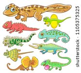 Universal Lizard Cartoon Set...