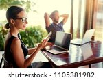 coworking and freelance concept.... | Shutterstock . vector #1105381982
