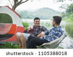 happy friends together camping... | Shutterstock . vector #1105388018