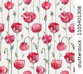 poppies. hand drawn flowers.... | Shutterstock . vector #1105401308