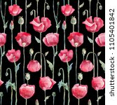 poppies  hand drawn flowers.... | Shutterstock . vector #1105401842