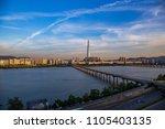 han river at seoul skyline view ... | Shutterstock . vector #1105403135