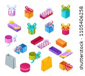 multicolor gift boxes  vector... | Shutterstock .eps vector #1105406258