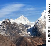 Small photo of View of mount Makalu (8463 m) from Kongma La pass - Way to Everest base camp, three passes trek, Everest area