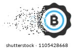 fractured bitcoin seal stamp...   Shutterstock .eps vector #1105428668