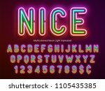 neon light alphabet ... | Shutterstock .eps vector #1105435385