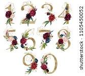 floral number set   digits 1  2 ... | Shutterstock . vector #1105450052