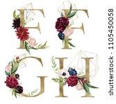floral alphabet set   letters e ... | Shutterstock . vector #1105450058