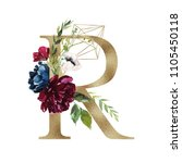 floral alphabet   letter r with ... | Shutterstock . vector #1105450118