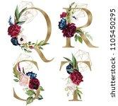 floral alphabet set   letters q ... | Shutterstock . vector #1105450295