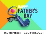 flat lay style of happy father... | Shutterstock .eps vector #1105456022