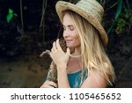 young beautiful hipster woman... | Shutterstock . vector #1105465652