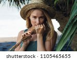 young beautiful hipster woman... | Shutterstock . vector #1105465655