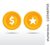 realistic gold and star coin...   Shutterstock .eps vector #1105485935