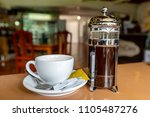 french press coffee port and...   Shutterstock . vector #1105487276