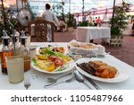 organic food on the white table ... | Shutterstock . vector #1105487966