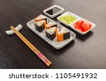 japanese food  rolls with... | Shutterstock . vector #1105491932