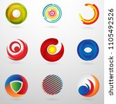 set abstract circle logo with... | Shutterstock .eps vector #1105492526