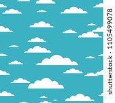 cloud seamless pattern on blue... | Shutterstock .eps vector #1105499078
