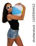 beautiful young black woman... | Shutterstock . vector #1105504412