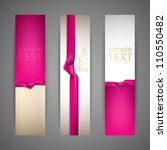 Set Of Banners With Pink Ribbons