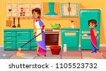 housewife cleaning kitchen... | Shutterstock .eps vector #1105523732