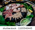 Small photo of Cooking barbecue Thai style, called Moo Kra Ta.