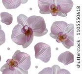 tender orchid floral seamless... | Shutterstock . vector #1105550618