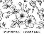 seamless flower pattern... | Shutterstock .eps vector #1105551338
