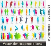 Vector set of colorful abstract people silhouettes