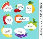 fruits with speech bubble set... | Shutterstock .eps vector #1105558895