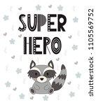 vector card with cartoon animal.... | Shutterstock .eps vector #1105569752